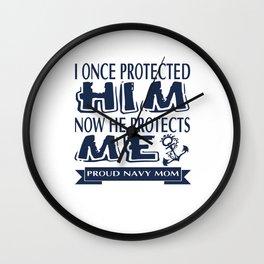 Proud Military Parent Navy Mom Wall Clock