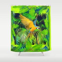 BLUE & GOLD MACAW JUNGLE  ART DESIGN Shower Curtain
