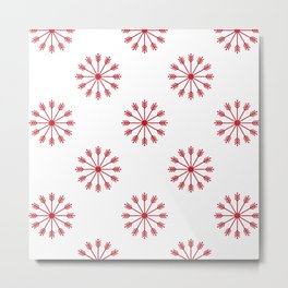 Snowflakes - white and red Metal Print