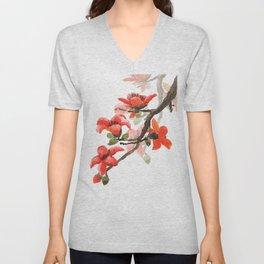 red orange kapok flowers watercolor Unisex V-Neck