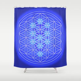 Flower Of Life - Blue Shower Curtain