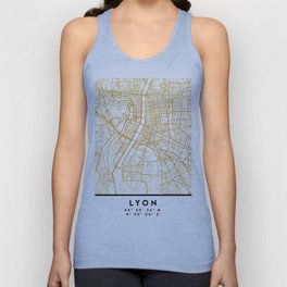 LYON FRANCE CITY STREET MAP ART Unisex Tank Top