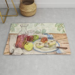 Still life of fruit and wine - Painting Rug