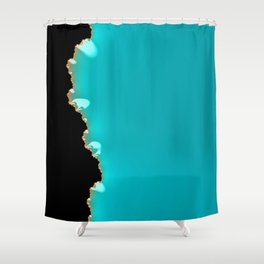 Creeping Teal with a Gold Edge Shower Curtain
