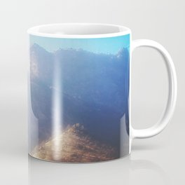mountain with strong summer sunlight and blue sky Coffee Mug