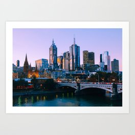 Melbourne Skyline Fine Art Print Art Print