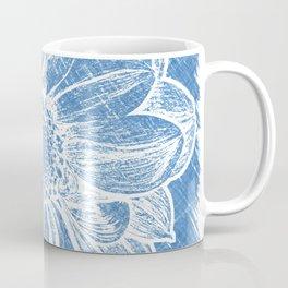 White Flower On Denim Blue Crayon Coffee Mug