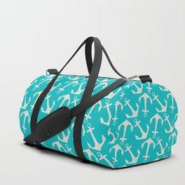 Maritime Nautical Aqua and White Anchor Pattern Duffle Bag