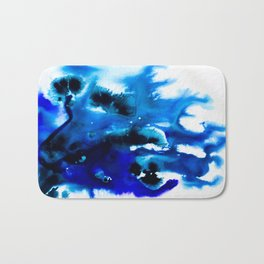 Paint 8 abstract indigo watercolor painting minimal modern canvas art affordable home decor trendy Bath Mat