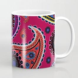 Oriental Persian Paisley, Dots - Red Blue Pink Coffee Mug