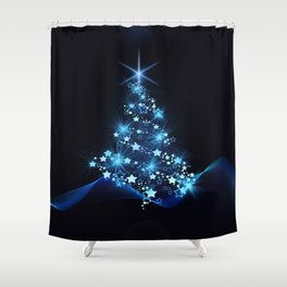 Sparkling Blue Christmas Tree Modern Stars Shower Curtain