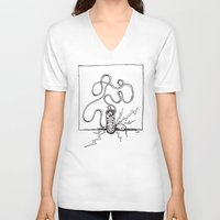 sneaker V-neck T-shirts featuring Sneaker Snake by Leslie Buccino