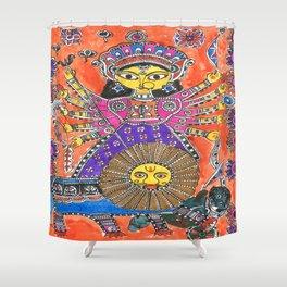 Madhubani - Orange Durga Shower Curtain