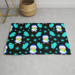 Cute smiling little baby penguins with warm woolen scarves, blue knitted mittens winter pattern Rug