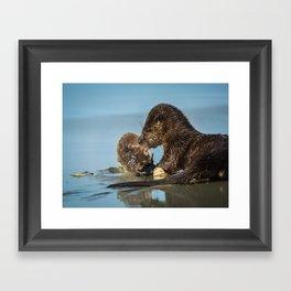 River Otter Meets Crab Framed Art Print