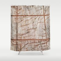 tape Shower Curtains featuring Tape Signs by Motif Mondial