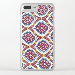 Floral Fabric Vintage Material Clear iPhone Case