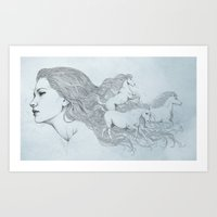 horses Art Prints featuring Horses by Diego Fernandez