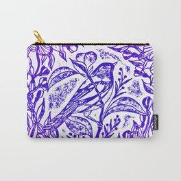 Songbird In Magnolia Wreath, Purple Linocut Carry-All Pouch