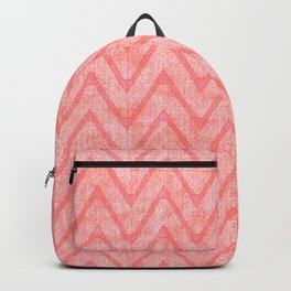 Peach Pink Imitation Velvet Zigzag Pattern Backpack