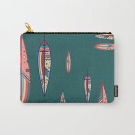 Feathers in Forest Green and Coral Carry-All Pouch