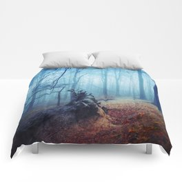 Silent Sadness - Fall Forest in Fog Comforters