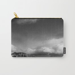 Puffy Clouds | Mountain Cliff | Landscape Photography | Black and White | Nature Carry-All Pouch