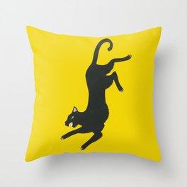 Yellow Panther Throw Pillow