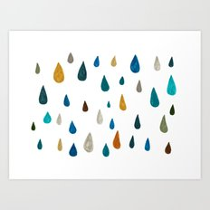 raindrops - green Art Print