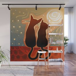 couple of cats in love on a house roof Wall Mural
