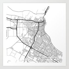Corpus Christi Map, USA - Black and White Art Print