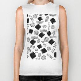 Black white geometrical 80s pattern paint brushstrokes Biker Tank
