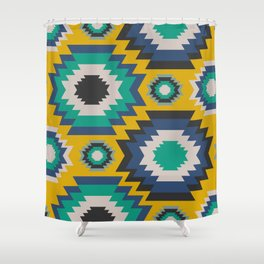 Ethnic in blue, green and yellow Shower Curtain