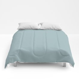Dark Pastel Blue Solid Color Inspired by Benjamin Moore Buxton Blue HC-149 Comforters