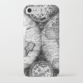 World Map Antique Vintage Black and White iPhone Case