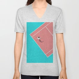 Pastel Tennis Court From Above  Unisex V-Neck