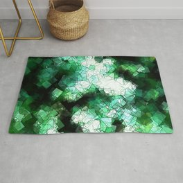 square fantasy snow in the treetops Rug