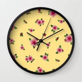 Sweet Pink Roses - yellow Wall Clock