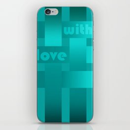 A satin ribbon .Turquoise background . With love. iPhone Skin