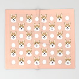Corgi polka dots peach blush pastel pink coral welsh corgi iphone case for dog lover gifts for dogs Throw Blanket