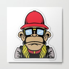 fun monkey sticker stickers new 2018 design cute funny sunglass swag thug love Metal Print