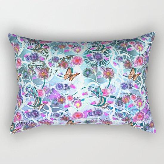 Dahlias And Vines Pattern Rectangular Pillow