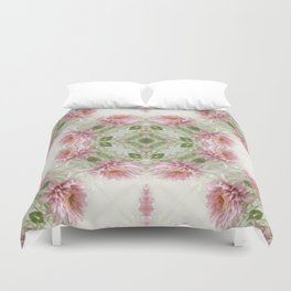 Pink Chrysanthemums Kaleidoscope Art 10 Duvet Cover