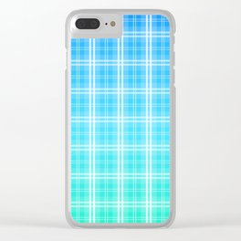 Faded and Shaded Aqua Blue and White Tartan Plaid Check Clear iPhone Case