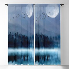 Mountainscape Under The Moonlight Blackout Curtain