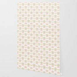 Pastel Folk Art Birds and Flowers Wallpaper