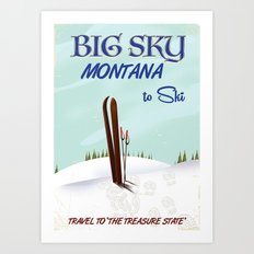 big sky Montana ski vintage travel poster Art Print