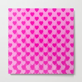 Zigzag of pink hearts staggered on a light background. Metal Print