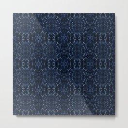 Indigo blue tie-dye pattern Metal Print
