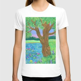 Summer landscape with tree and lotuses. T-shirt